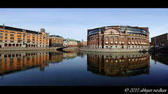 Riksdagen reflections (AbhijeetVardhan) Tags: panorama water vertical architecture democracy sweden stockholm politics parliament finepix fujifilm refelections riksdagen f31fd superaplus aplusphoto