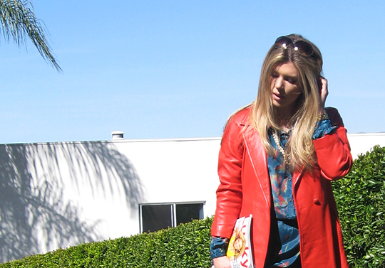 coral red leather vintage coat 70s shirt dress -9