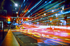 Long exposure near Finchley Road (Anatoleya) Tags: light london film bulb 35mm holga lomo xpro lomography crossprocessed long exposure bc cross traffic kodak release trails slide cable chrome elite processing shutter 135 process elitechrome expired processed finchley vle 135bc anatoleya