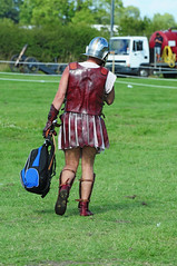 Roman Legionary Soldier Leaving the Battlefield with Rucksack, Kelmarsh 2009 (Steve Greaves) Tags: red italy rome field leather silver army gold countryside back italian ancient war uniform catchycolours dress arms roman juliuscaesar sandals military helmet battle event lorry hedge sword imperial conflict soldiers historical shield warriors recreation behind rucksack armour period invasion reenactment troops romanempire reenactors authentic legion romans invading armoury anachronism reconstruction invaders cohort legionary spear livinghistory reenacting warfare breastplate englishheritage anachronistic kelmarsh erminestreetguard romansoldiers gladius battledress romanarmy kelmarshhall paxromana nikond300 fightingforce 43ad