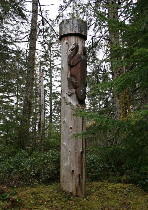 frog memorial totem pole, Kasaan Totem Park, Kasaan, Alaska