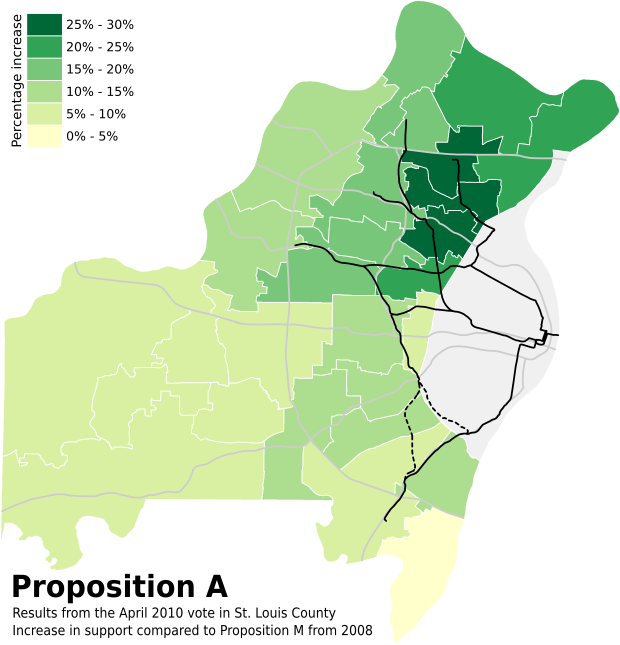 Increase in support for Prop A