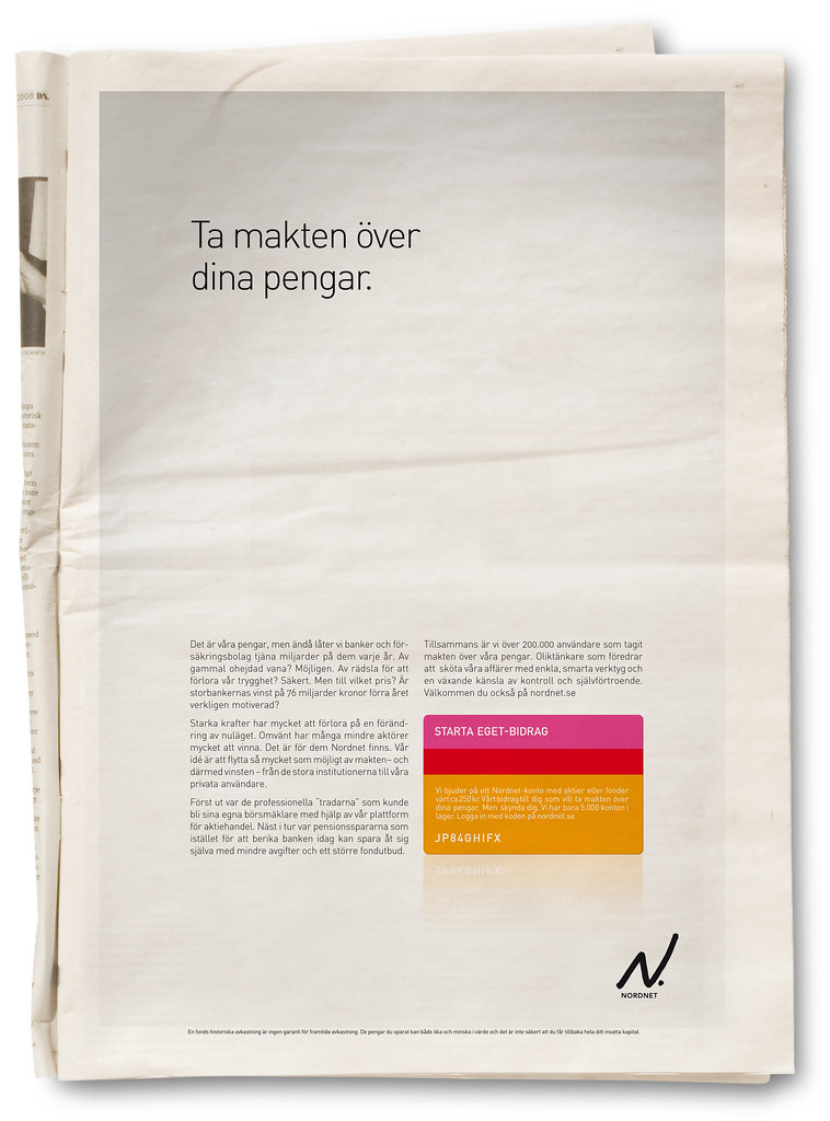 Annons i dagspress.