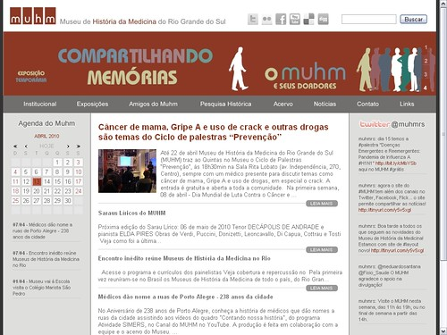 Novo layout do site do MUHM por Museu de História da Medicina do RS.
