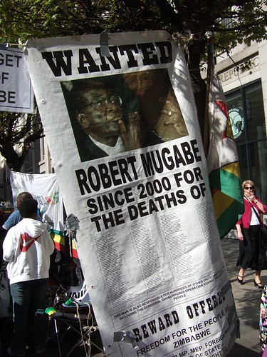 Wanted: Robert Mugabe poster outside the Zimbabwe information centre