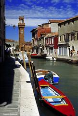 Murano (Promix The One) Tags: panorama barca italia mare campanile murano canale diapositiva scorcio isola rossoblu banchina coloriaccesi yashica230af bellitalia prometeocamiscioli yashica50f18