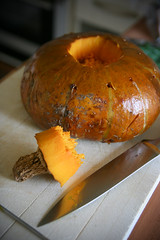 Roasted whole pumpkin