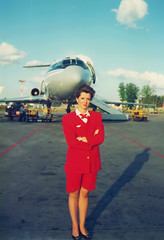 So far 1990s'... (Osdu) Tags: portrait people girl airport russia aircraft aviation airplanes flight crew airlines stewardess attendant afl tupolev aeroflot svo scaner airhostess stewardes tu154 sheremetyevo htesse azafata aeromoza sovietairlines