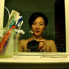 I brush my teeth and go to bed. (J!!!!) Tags: camera portrait selfportrait me face myself bathroom mirror focus toothpaste toothbrush selfshot selfportraitwithcamera mirrorser artisawoman