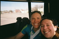 Jenny & Clare on the Bus After Horsetooth Half