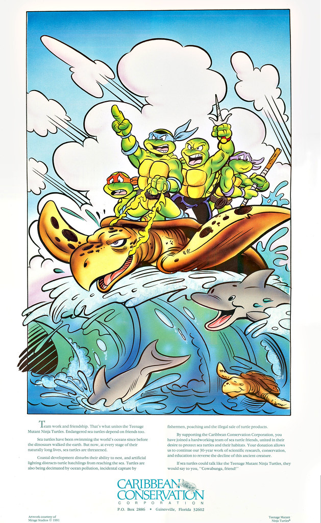 """Caribbean Conservation"" Support poster ..art by  Ken Mitchroney, Ryan Brown and Steve Lavigne { Cover art for TMNTA # 17 }  (( 1991 ))"