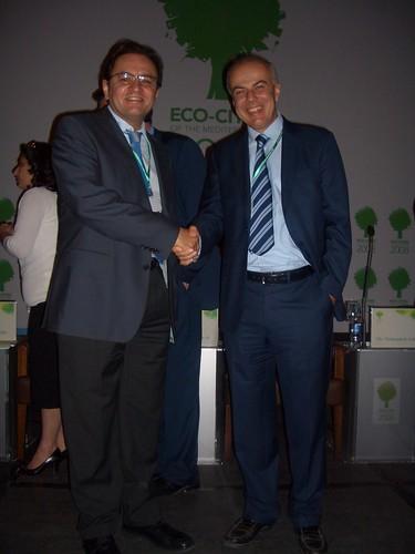 Edoardo Croci con il sindaco di Amman al forum internazionale Eco-Cities of the Mediterranean, 19 ottobre 2008