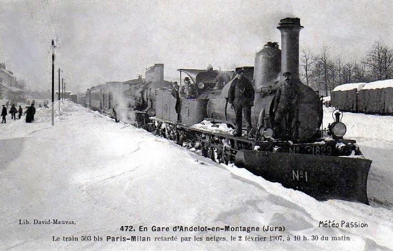 train bloqué par la neige à Andelot le 2 février 1907