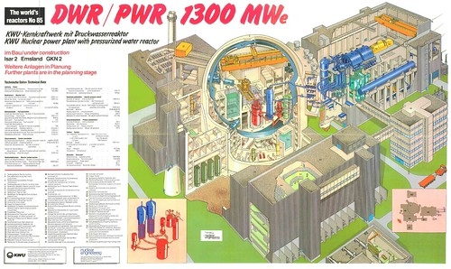 The World's Reactors, No. 85, DWR-PWR 1300 MWe, Germany. Wall chart insert, Nuclear Engineering, March 1984