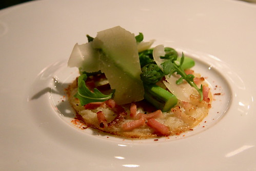 L'Atelier de Joël Robuchon - 3rd course, White onion tart smoked bacon and asparagus