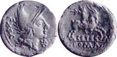 288/1 Cornelia Roma phrygian helmet Shepherd Atys riding goat CETEGVS wreath Denarius