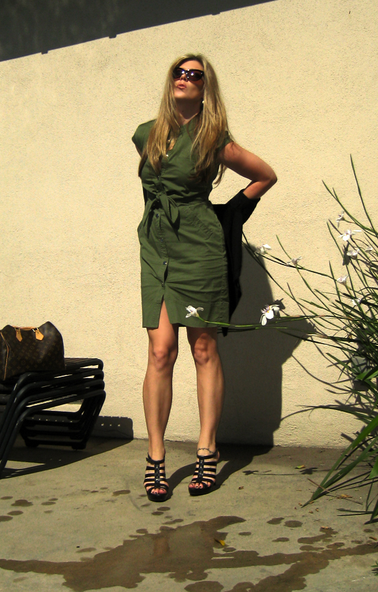 marc by marc jacobs army green shirt dress -5