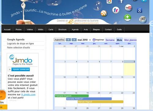 Google agenda rendu du calendrier si vous etes connecté à votre compte Google