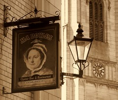 Timeless in sepia (* RICHARD M (Over 5 million views)) Tags: old signs sepia liverpool spring time streetlamps streetlights churches restaurants compression telephoto april lamps pubs clocks timeless stnicholaschurch 2010 pubsigns oysterbar merseyside 1870 pastandpresent towergardens maboyles churchclocks