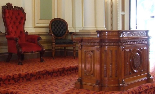 President's chair and rostrum in old Legislative Council chamber, JSchool visit to Parliament of Queensland, Brisbane, Queensland, Australia, 100511