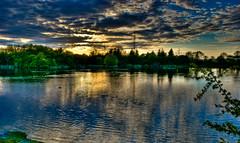 Sunset at Cowpen Lake (carrmp) Tags: uk blue trees sunset england sky cloud lake tree nature water night clouds woodland landscape pond nikon europe eu northeast teesside hdr billingham countydurham photomatix sigma1020 greatham d80 cowpenbewley