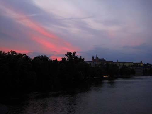 Beautiful Sunset in Prague, Prague Castle in the distance