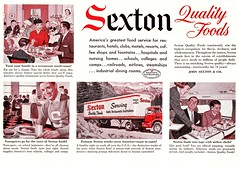 """Quality Foods"" in Red-Black-and-White Land! (saltycotton) Tags: family vintage magazine children airplane restaurant father ad mother teenagers husband diner advertisement 1950s 1957 wife waitress stewardess trucking flightattendant goodhousekeeping thesaturdayeveningpost sextonfoods"