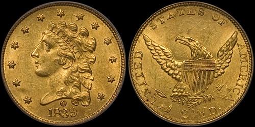1839-O $2.50 PCGS MS62