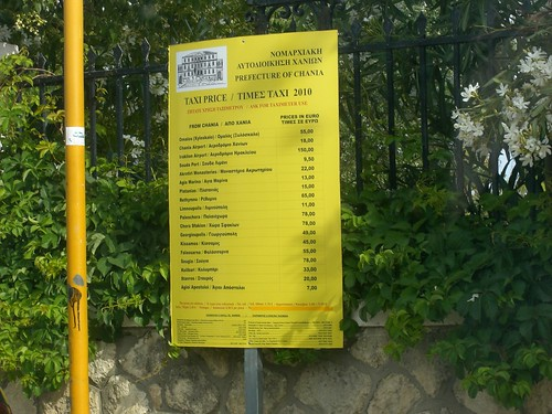 inidicative taxi fare prices hania chania