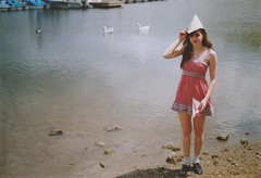 (Anna Hollow) Tags: film girl boats geese paddleboats newspaperhat annahatzakis earthahubbell annahollow