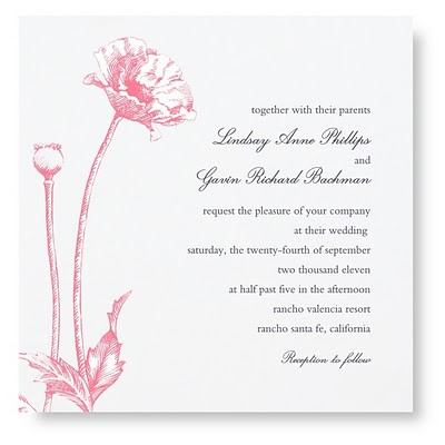 pink invitation white invitation wedding photo