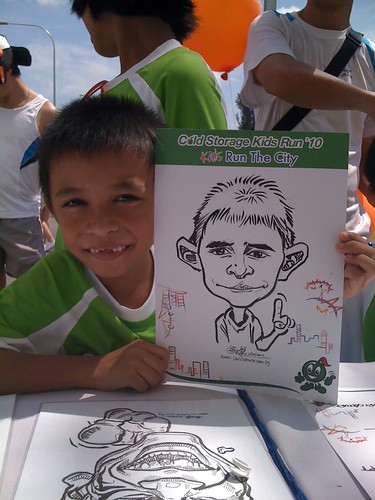 caricature live sketching for Cold Storage Kids Run 2010 - 23