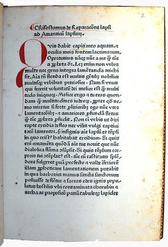 First Page of Text from 'De Reparatione Lapsi'
