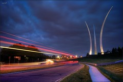 The Air Force Memorial (www.matthansenphotography.com) Tags: road longexposure sky monument car clouds arlington lights virginia washingtondc memorial hill landmark bluehour hdr lighttrail thepentagon 3exposure airforcememorial washingtonianmagazine matthansen