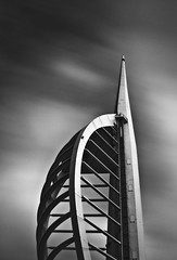 spinnaker falling through space (s k o o v) Tags: longexposure bw tower architecture clouds zeiss dirty portsmouth spinnaker sensordust nd110 skoov wornoutdodgingbrush iresistedtheurgetoframethisinasquarecanvas