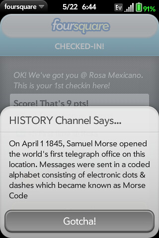 History Channel factoid that popped up during dinner