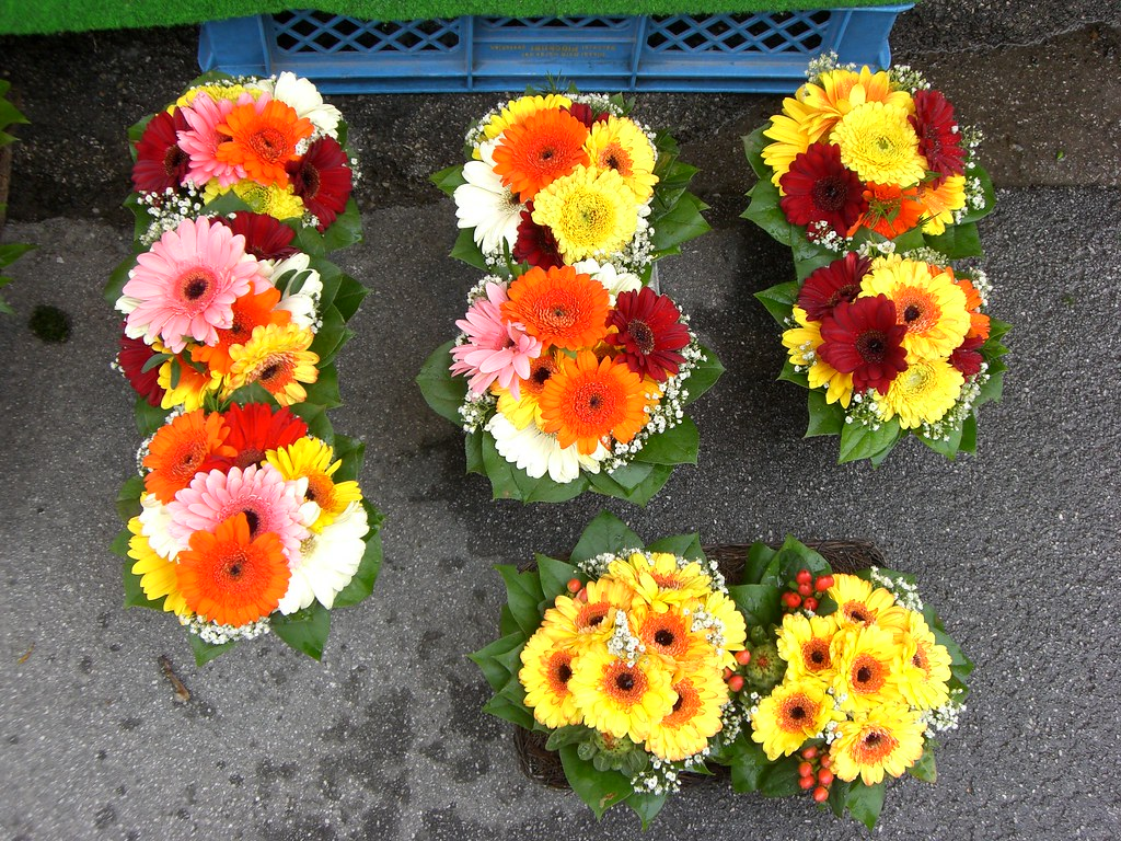 Nine gerberas' bouquets