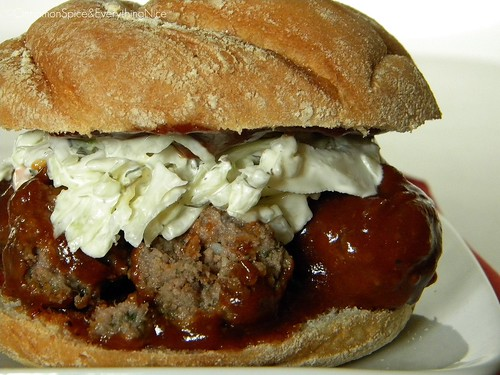 Barbecue Meatball Sandwich with Onions and Cole Slaw