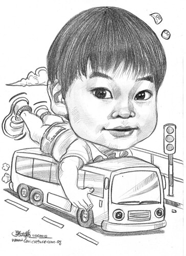 Boy caricature in pencil