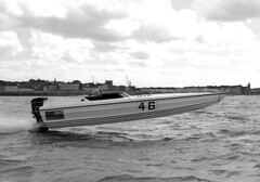 PB78 84 (Tony Withers photography) Tags: classic monochrome boat seaside power offshore august racing historic boating 1978 championships powerboats 1970s excitement margate thanet allhallows isleofthanet noeledmonds tonywithers tonywithersphotography