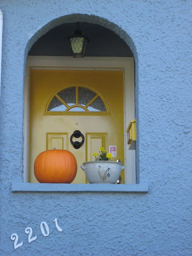 grey & yellow door