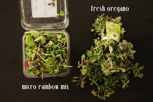 micro rainbow mix and fresh oregano