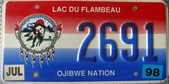Lac Du Flambeau Ojibwe Nation License Plate (Suko's License Plates) Tags: plaque native indian nation band plate tribal licenseplate license tribe placa patente targa matricula kennzeichen lacduflambeau ojibwe targhe numbertag nummerschild plaqueimmatriculation triballicenseplates indiantribeslicenseplates lacduflambeauojibwe
