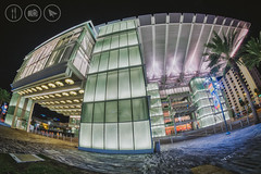 The Madness of Curves [Explored] (Adrian Court LRPS) Tags: 8mm architecture buildings city downtown downtownorlando drphillips fisheye fujifilm glass lights night orlando palmtree performingarts samyang theater xe2 florida unitedstates us