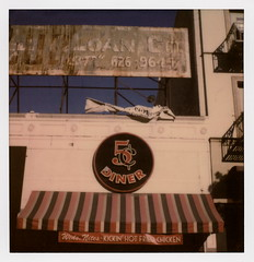 Nickel Diner (tobysx70) Tags: impossible project tip polaroid sx70sonar sonar instant color film for sx70 type cameras impossaroid nickel diner main street dtla downtown los angeles la california ca 5¢ sign ghostsign awning weds nites kickin' hot fried chicken restaurant blue sky toby hancock photography