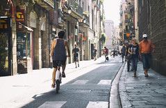 Streets of Barcelona (Tom Mrazek) Tags: morning people street travel sun tourist urban cityscape traffic summer life lifestyle colors art spain bike barcelona atmosphere lighting urbex