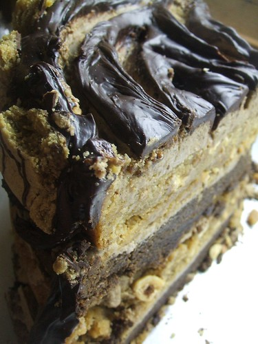 4 layer peanut butter blondie/brownie cake with espresso buttercream made with stumptown hairbender espresso & fudgy ganache,decorated with liz lovely peanut butter and coffee-macadamia cookies
