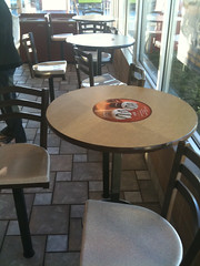 Tables and bar stools at McDonalds in Norman, Oklahoma
