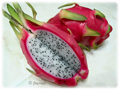 Hylocereus undatus (Dragonfruit, Red Pitaya, Strawberry Pear), with white flesh, dotted with black seeds, from Vietnam