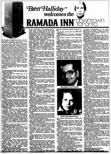 Vintage Ad #979: Brett Halliday welcomes the Ramada Inn Downtown Toronto